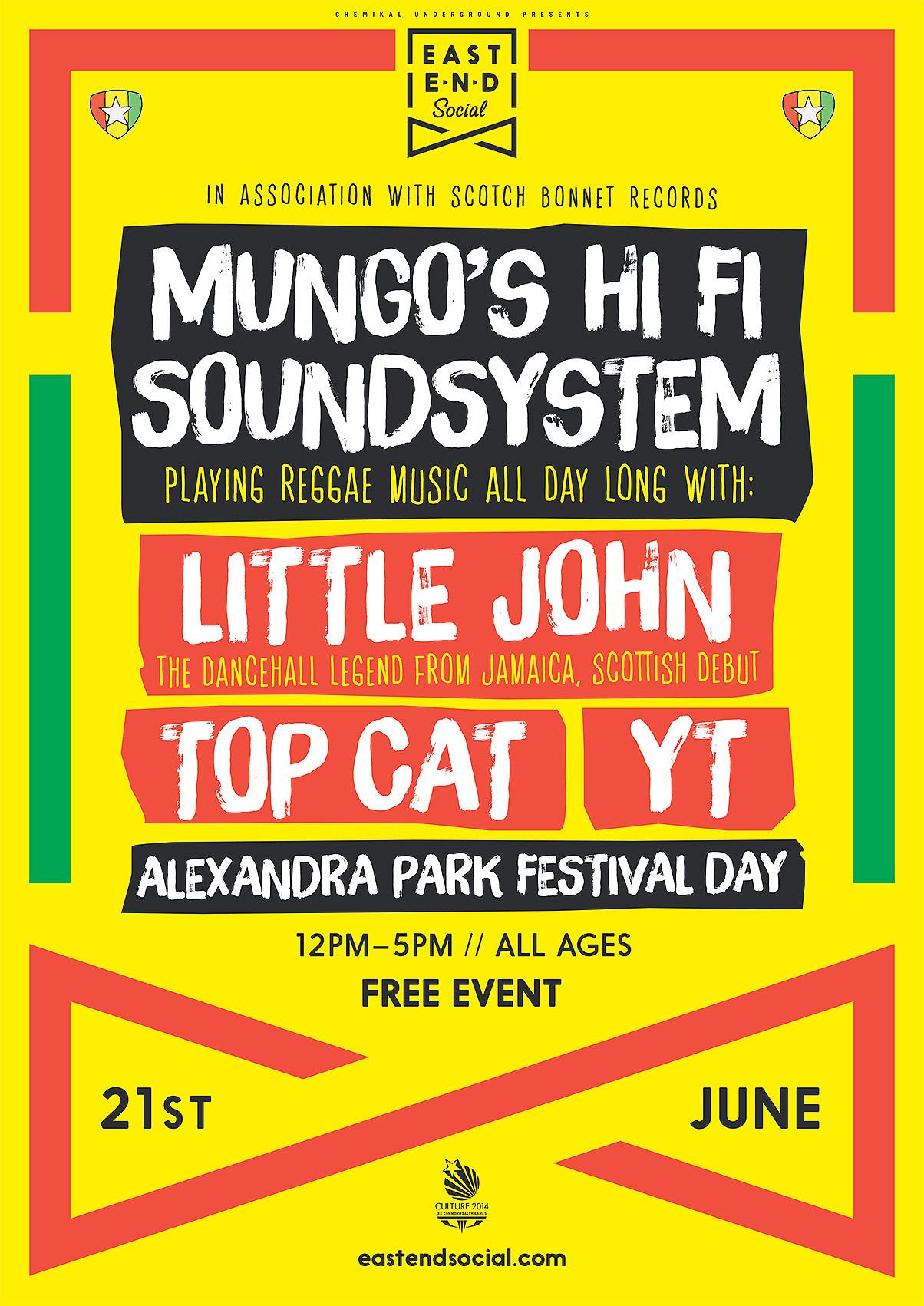Mungo's Hi Fi Soundsystem ft. Little John, Top Cat & YT at Alexandra Park Glasgow on 21st June 2014
