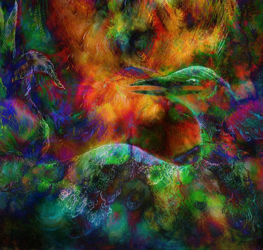 fairy emerald green phoenix bird, colorful ornamental fantasy pa