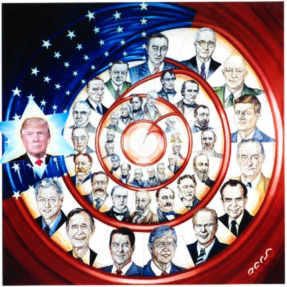 In Love, already awhile gone, Ms. Marijana Bego's 2008 painting, the #American #Presidents. Here, as her Art Administrator, I am honored to Digitally ADD the Bright Star among them, #President Mr. #Donald J.T#rump in our spirit and support of his #presidential# re-election run this #Nov. 2020. Cheers!