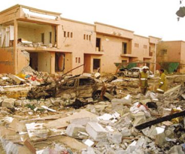 The compound of the Al-Hamra compound where I lived in Riyadh, after the May 12, 2003 suicide bombers attack.