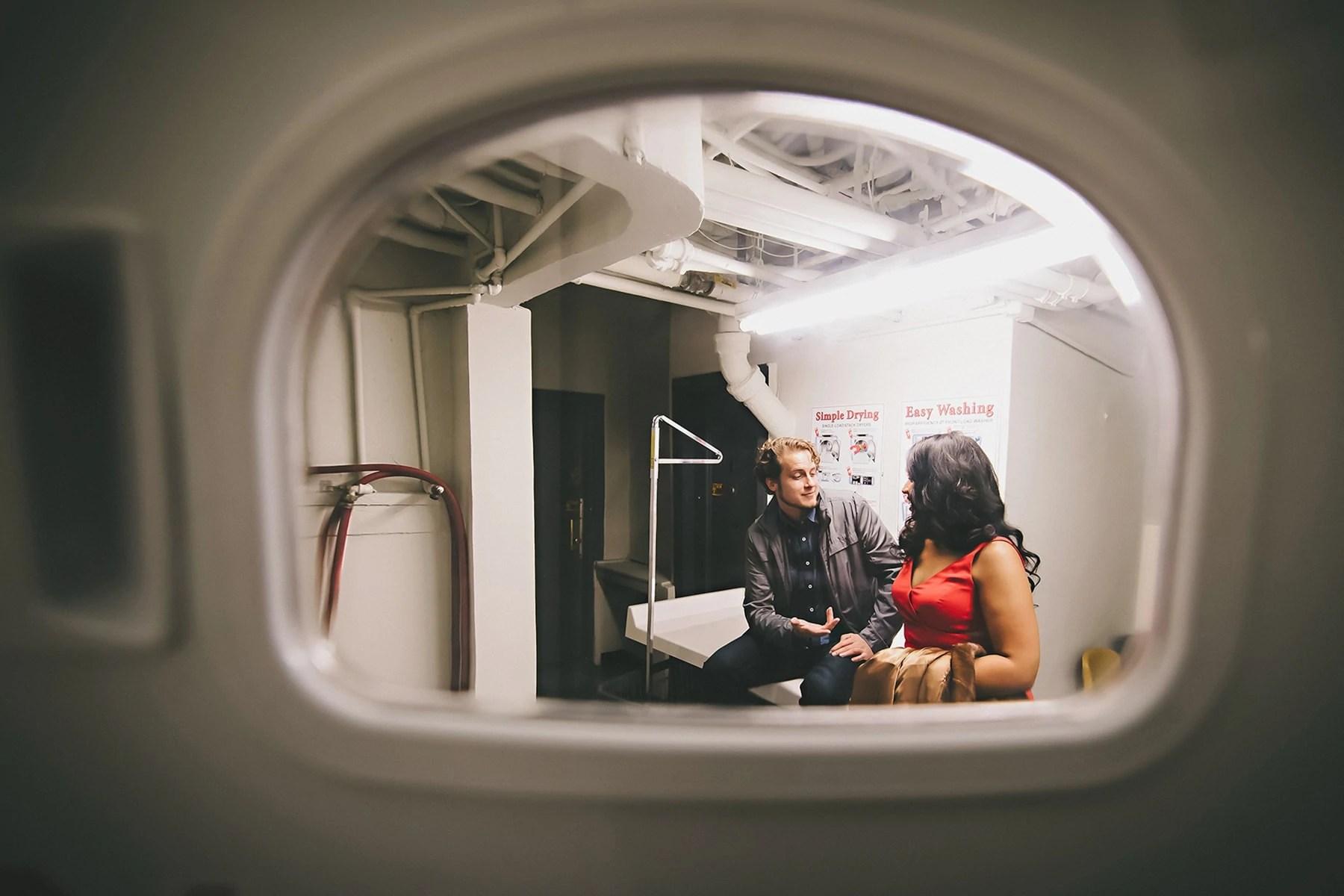 laundry room engagement session - Manhattan - NYC- Soulmates Studio