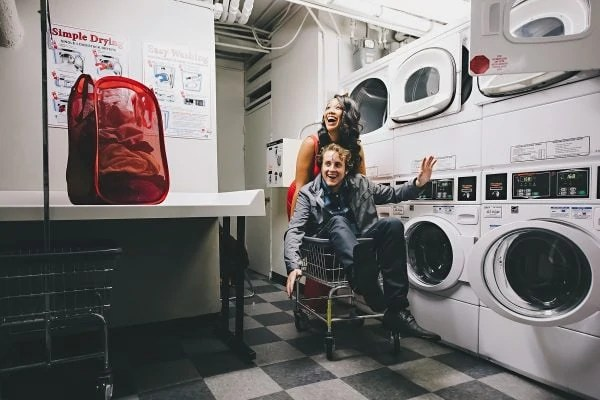 laundry room engagement session - Manhattan - NYC- Soulmates Studio