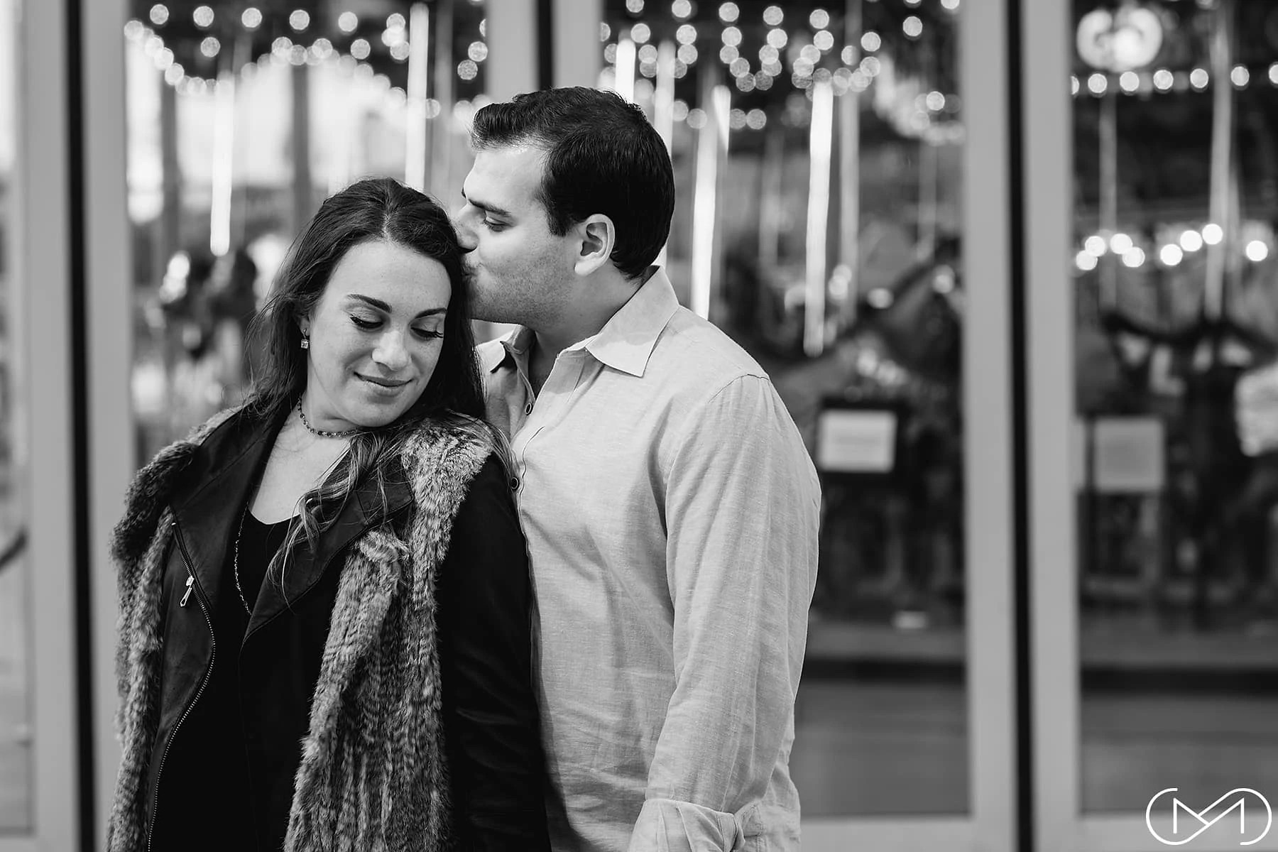 Jane's Carousel Brooklyn engagement portrait