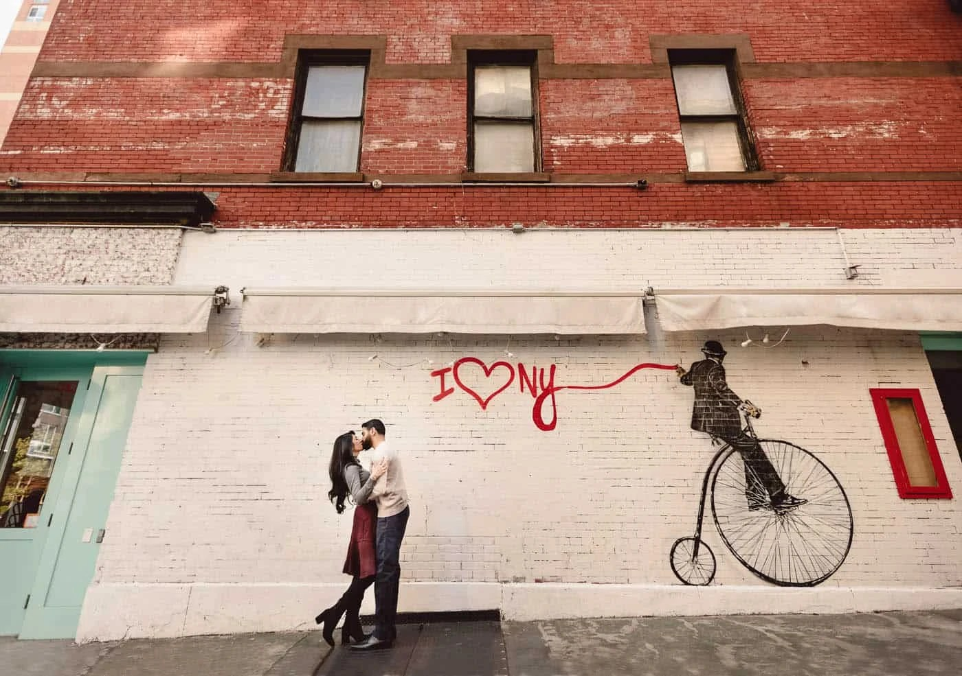 I love New York Wall Art Engagement portrait