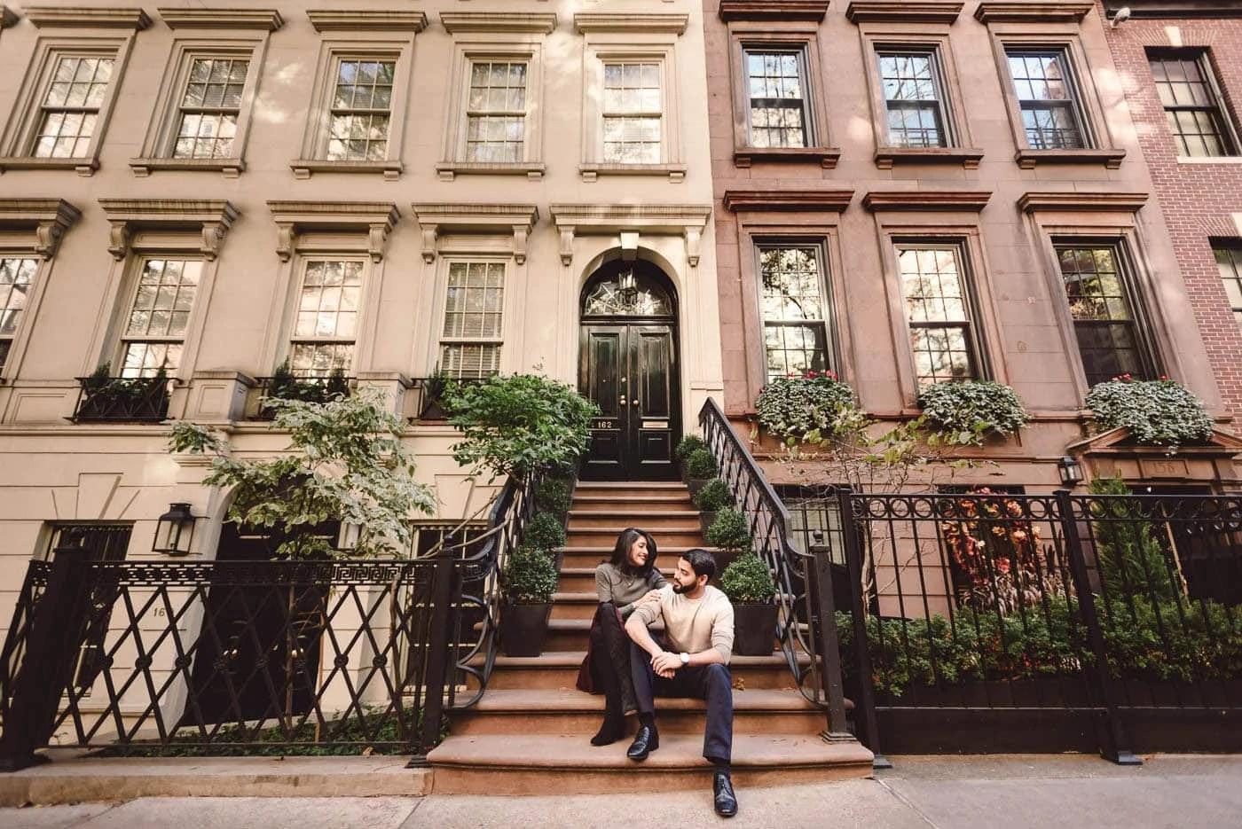 Upper East Side Brownstone building engagement portrait