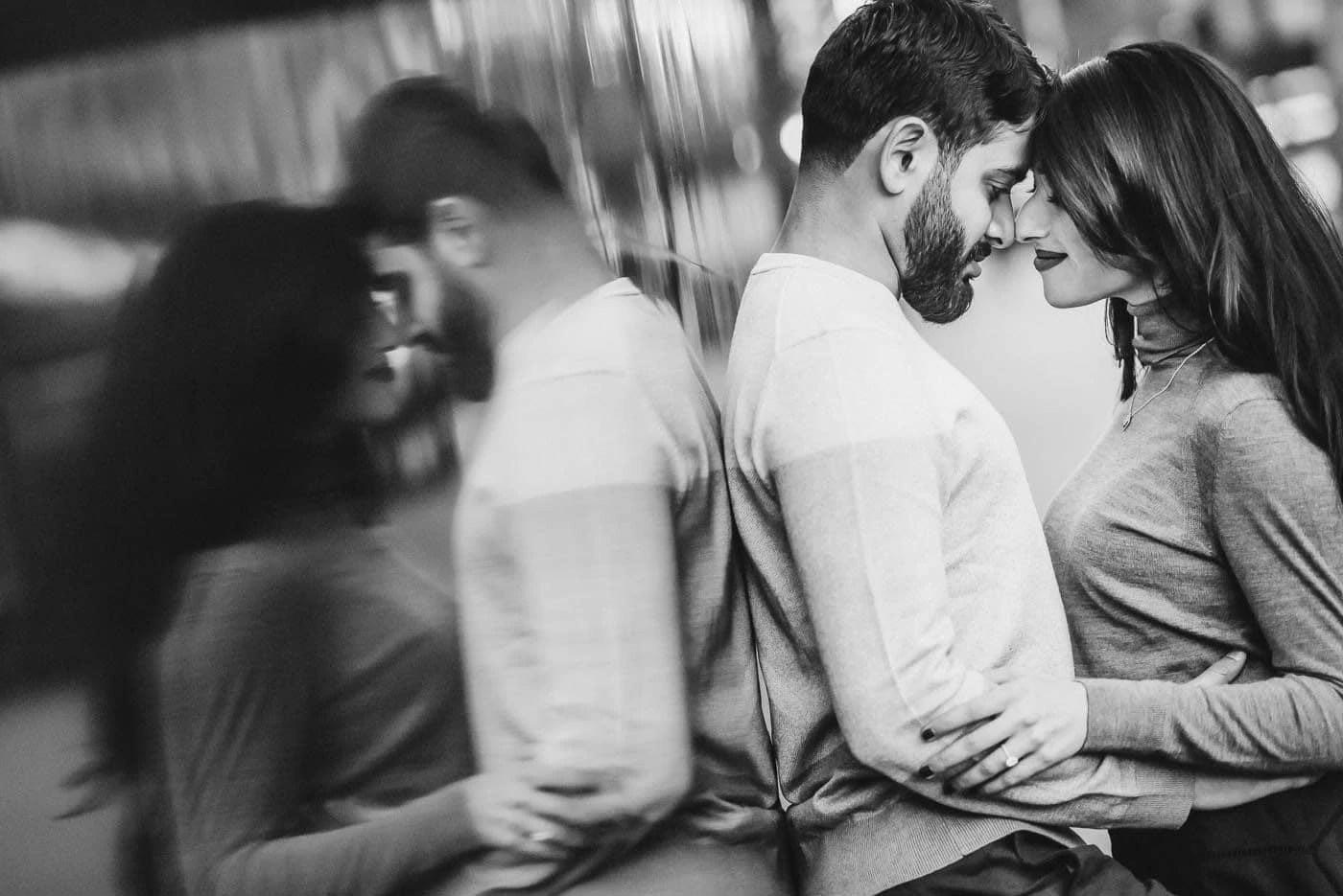 black and white couple love portrait