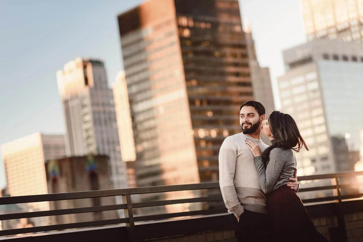 Manhattan Rooftop engagement couple portrait