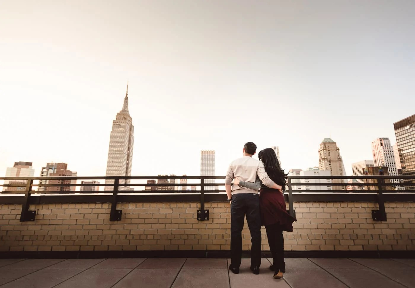 Engagement portrait with Empire State Building