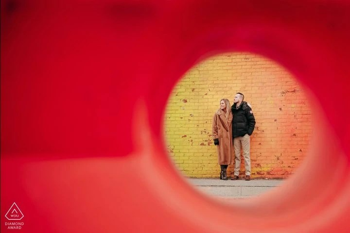 Brooklyn DUMBO Creative artsy awarded engagement portrait