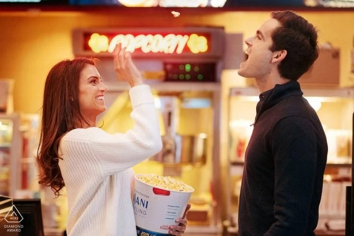 Casual Fun Manhattan Upper East Side Movie theater personal Engagement Portrait