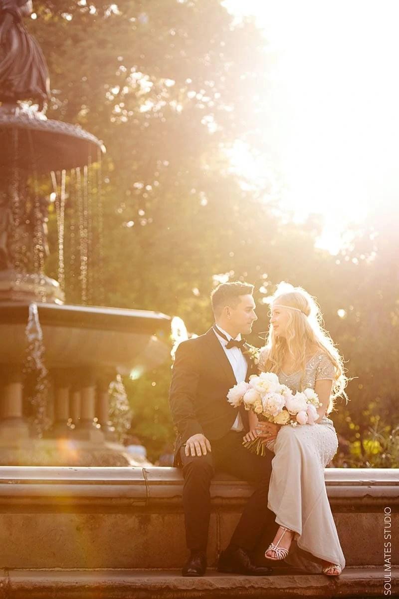 New York Central Park Bethesda Fountain Wedding Portrait