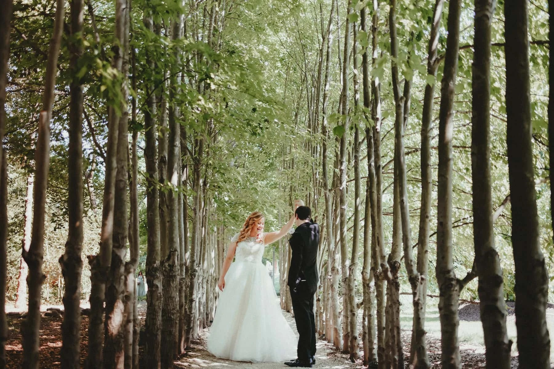 Portrait of the bride and groom in GROUNDS FOR SCULPTURE