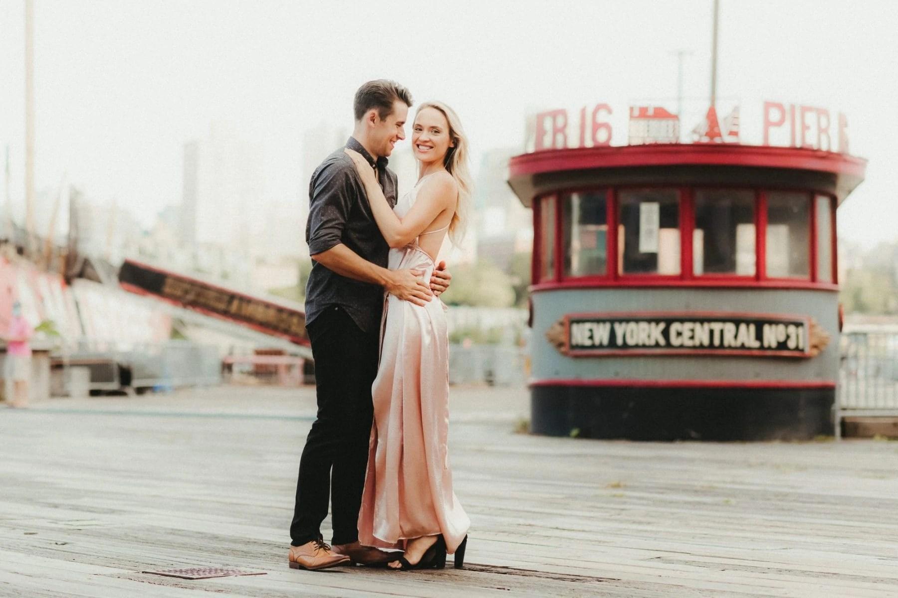 Manhattan Pier 16 Engagement Portrait