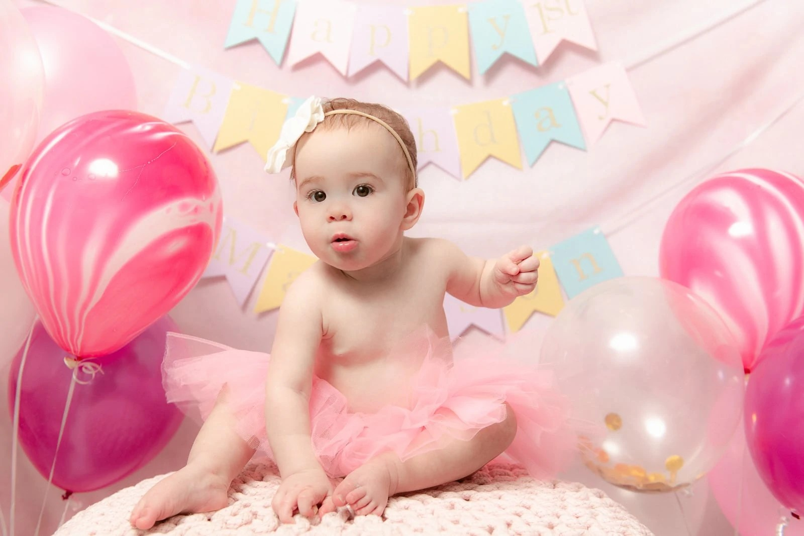 Smash the cake and first birthday baby session