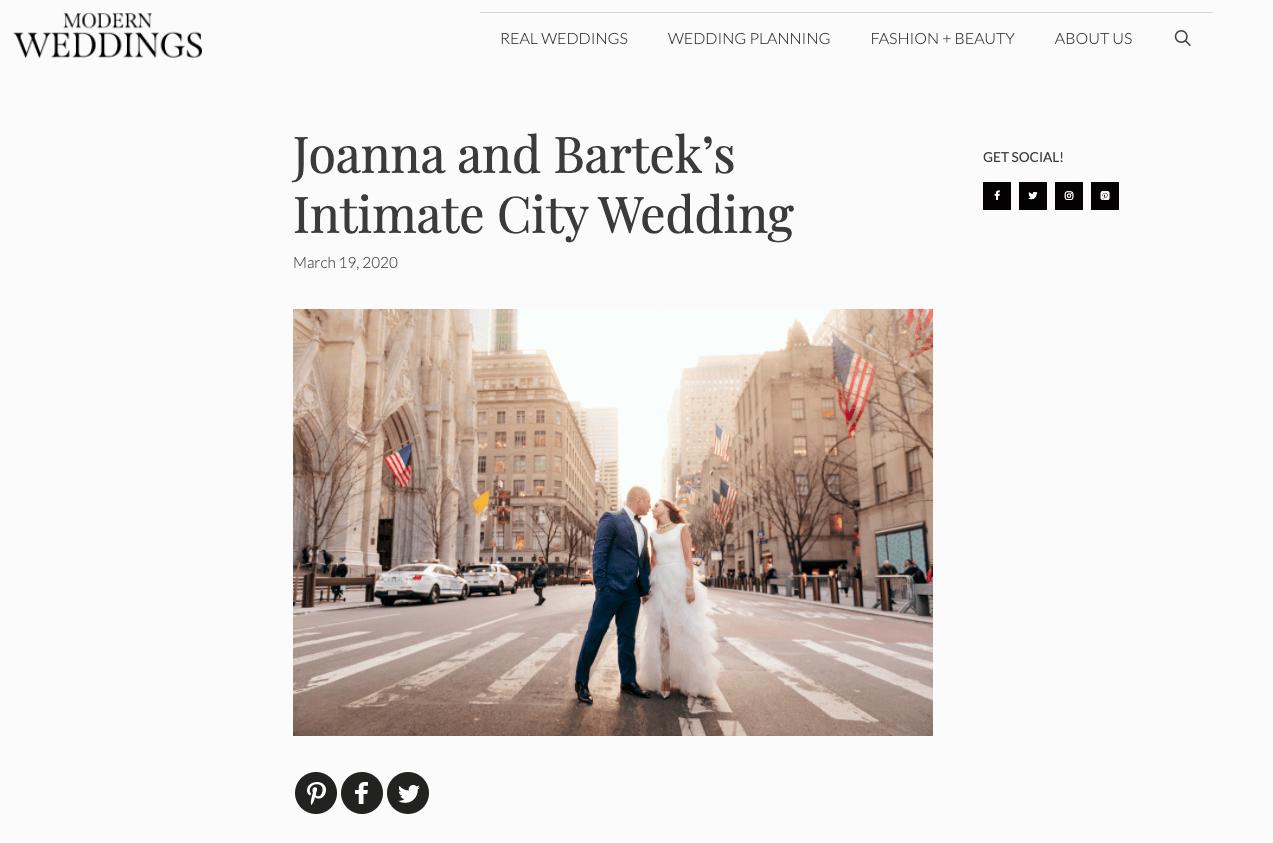 Modern Weddings Elopement Wedding Publication