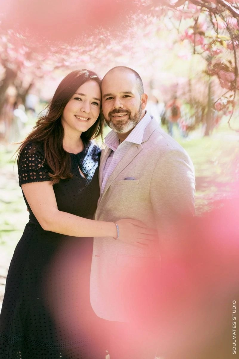 Cherry Blossom Engagement Couple