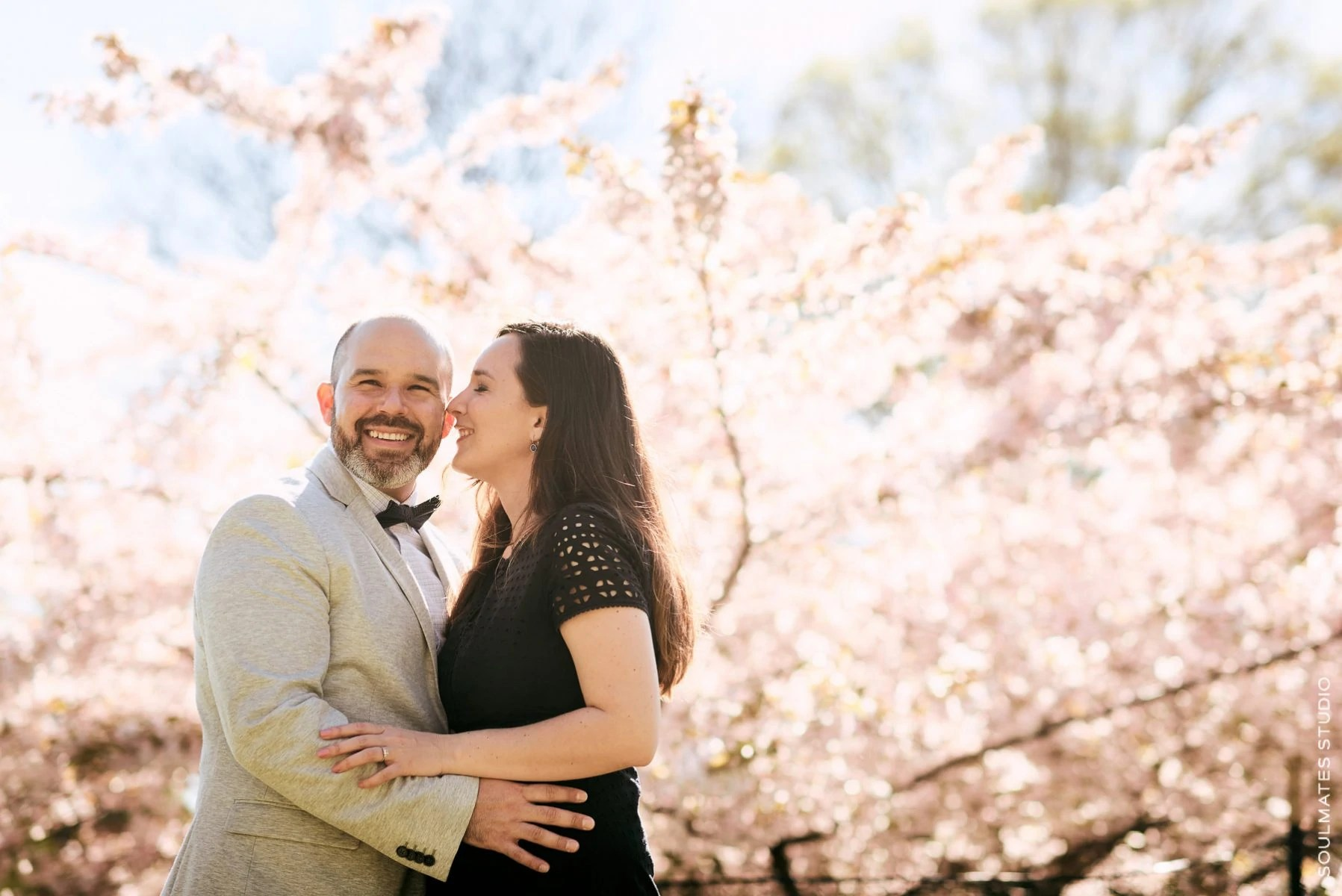 Cherry Blossom Engagement Session Portraits