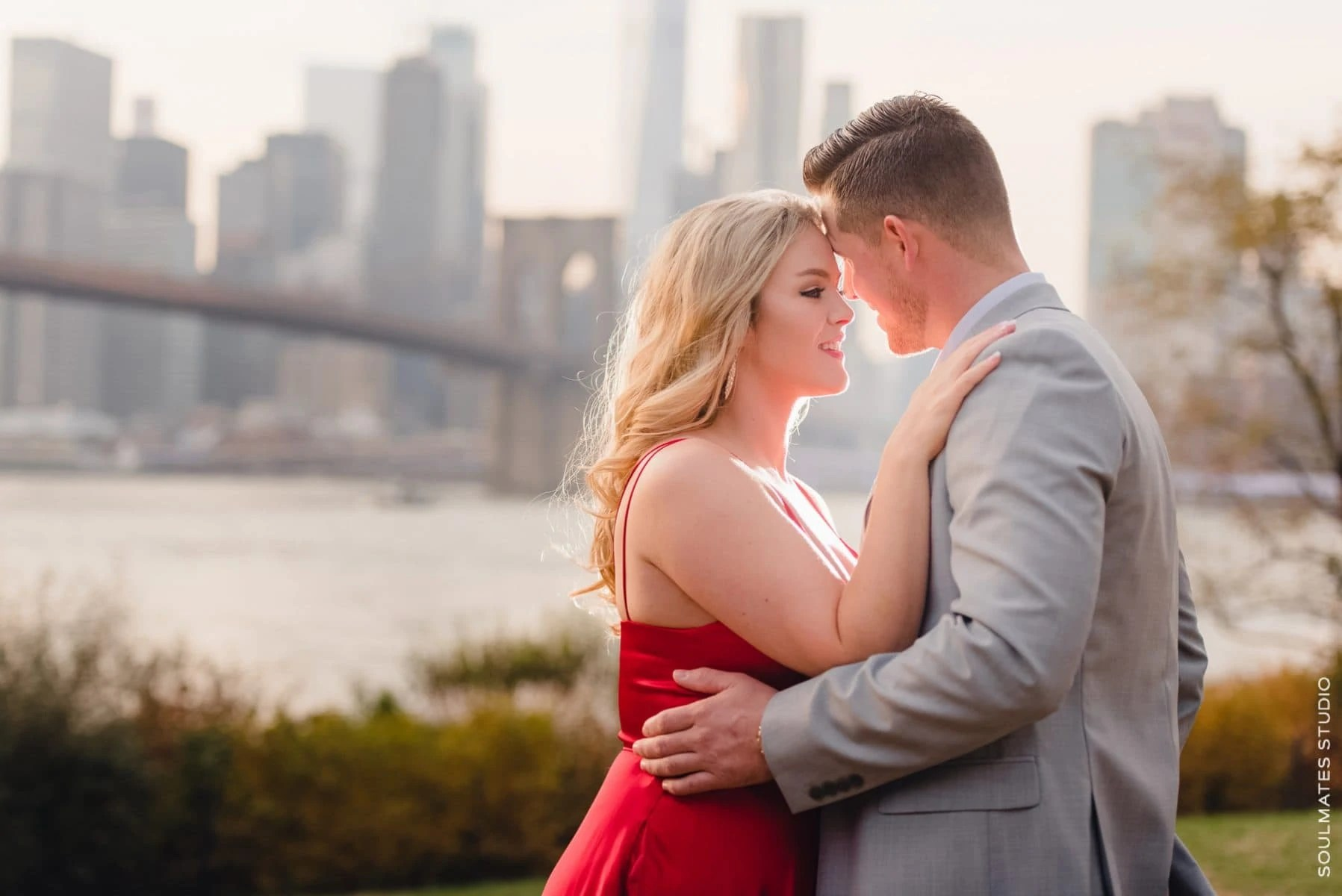 Dumbo Engagement with Brooklyn Bridge in the background