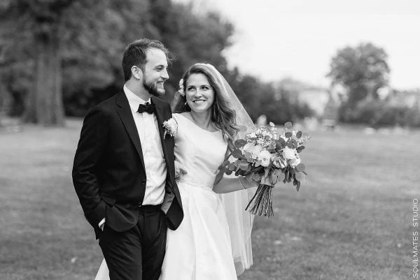 Brooklyn Dyker Beach Golf Course Black and White Wedding Portrait