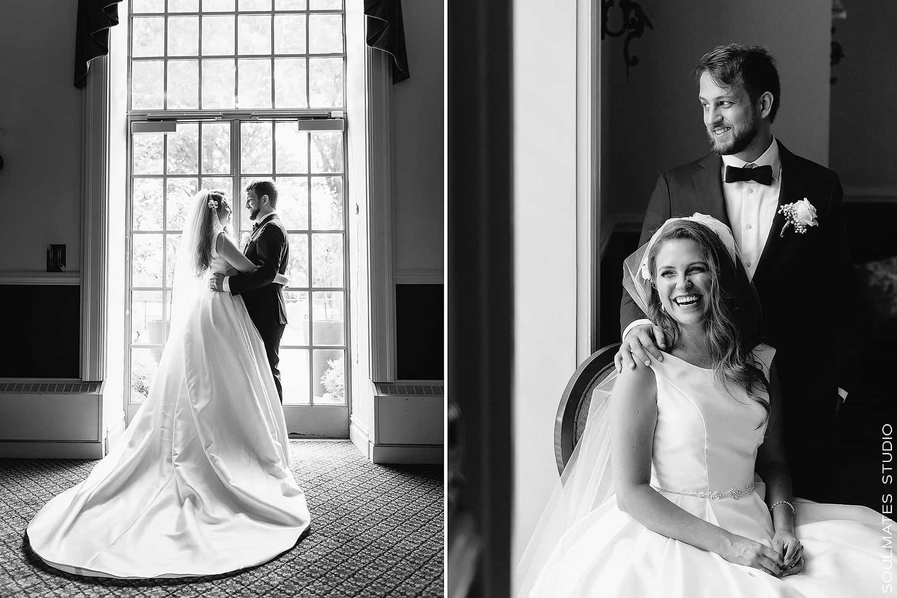 Black and White Wedding Couple Portraits at Brooklyn Dyker Beach Golf Course