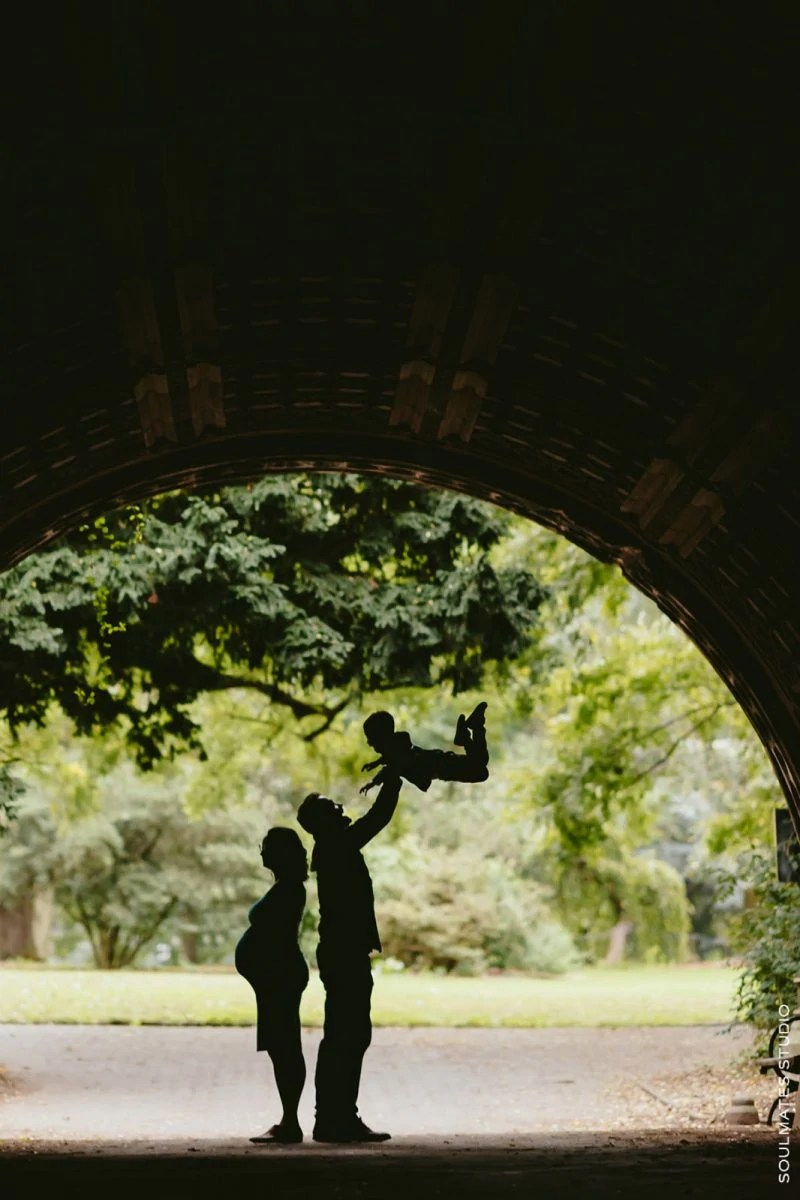 Silhouette of Family in Prospect Park tunnel