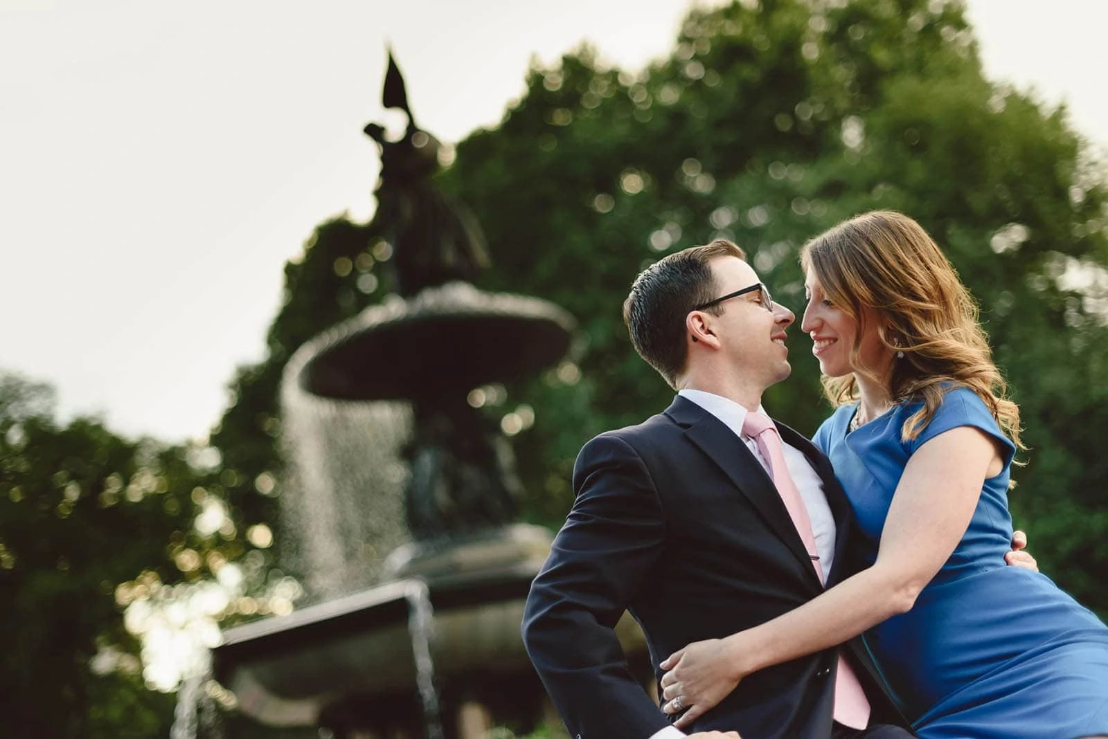 Central Park Bethesda Fountain Engagement Couple