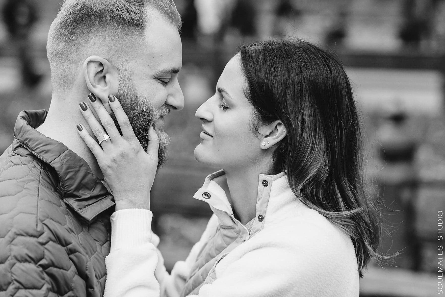 Black and white engagement couple portrait