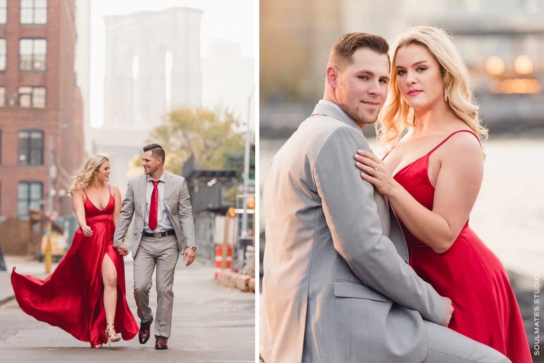 Red Dress for New York Engagement Session
