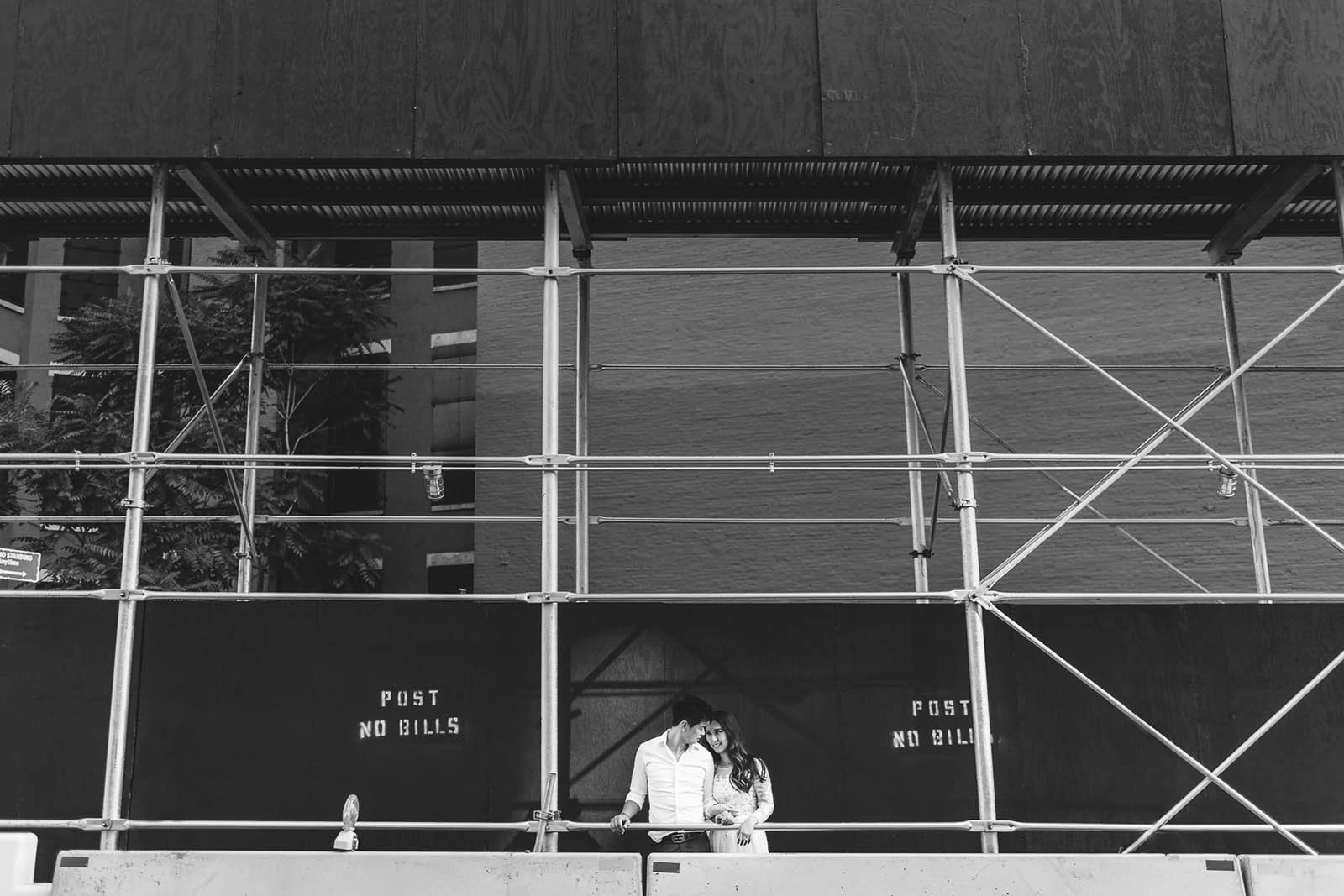 Manhattan Black and white engagement portrait