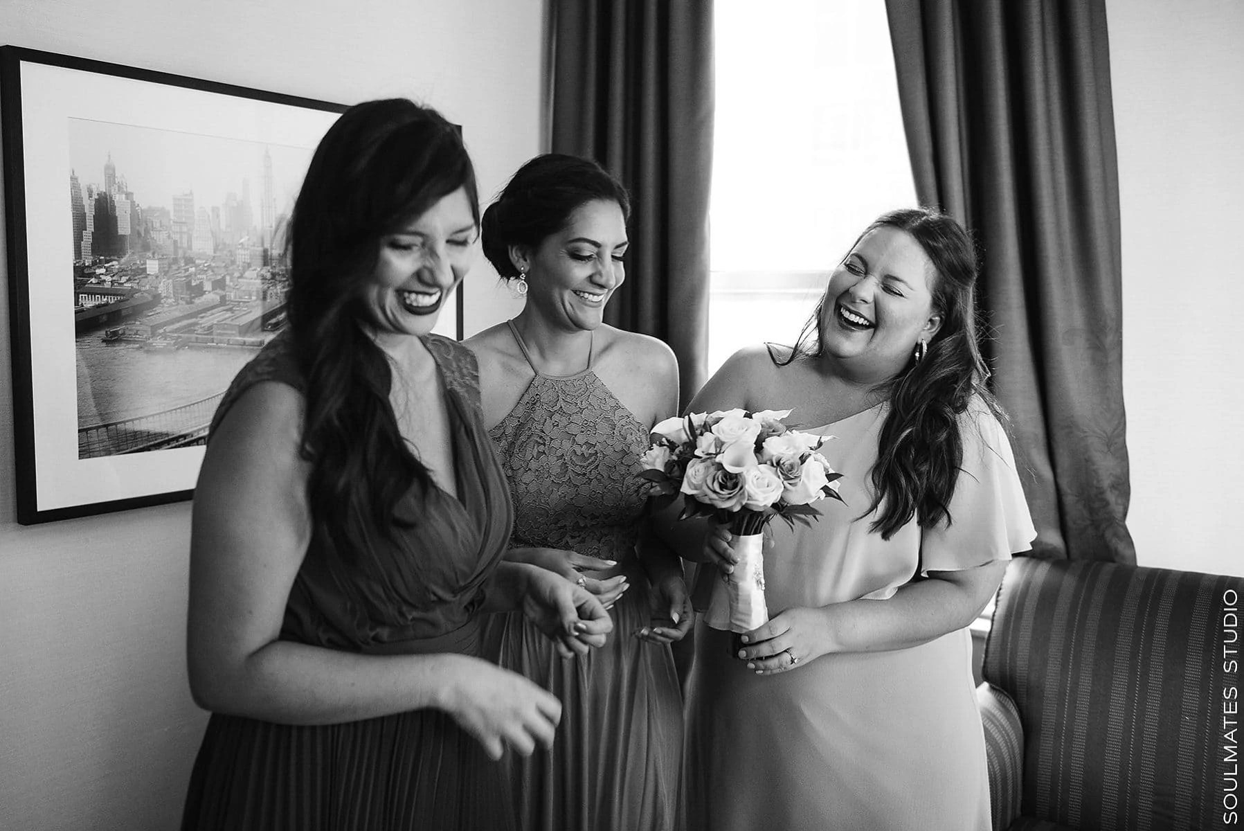 Bridesmaids are wedding ready during Manhattan Wedding
