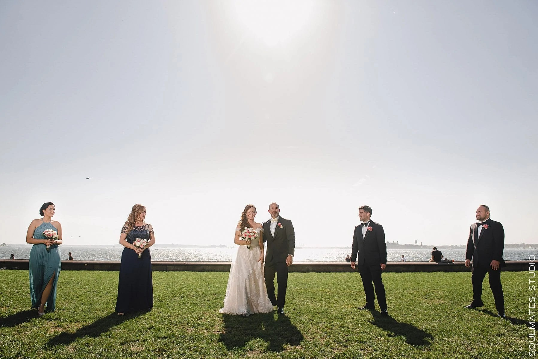 Manhattan Battery Gardens Wedding Bridal Party Photos by the water