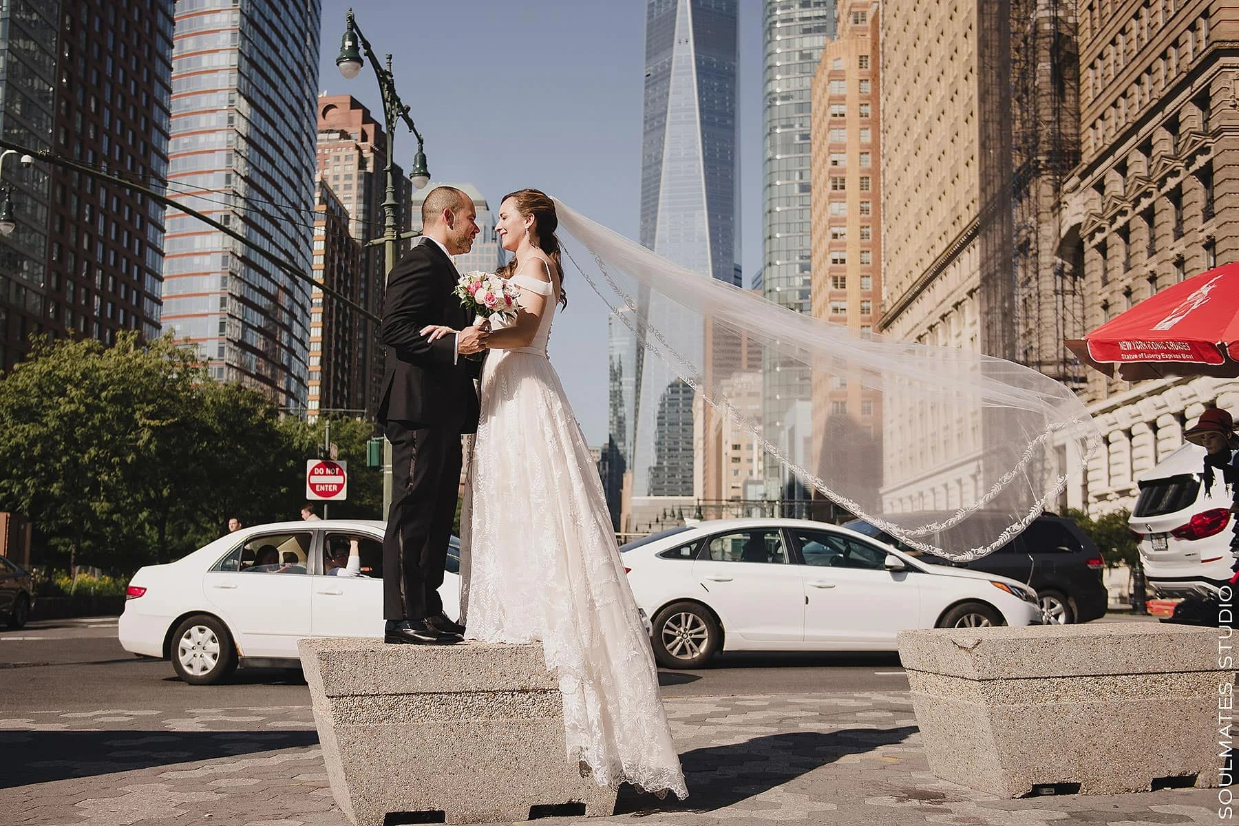 Manhattan Battery Gardens Wedding Bride and groom portrait with freedom tower in the background
