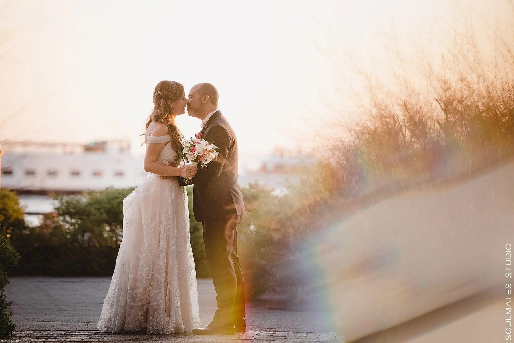 Manhattan Battery Garden City Wedding Bride and Groom portrait at the sunset