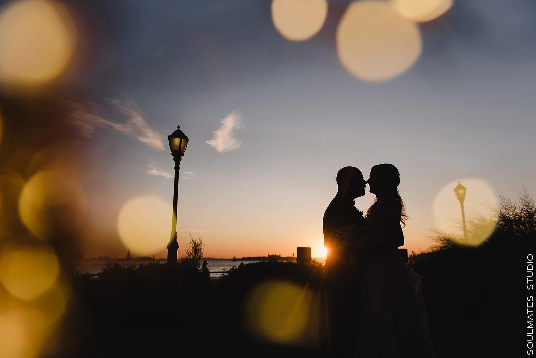 Manhattan Battery Garden Wedding silhouette Bride and Groom portrait