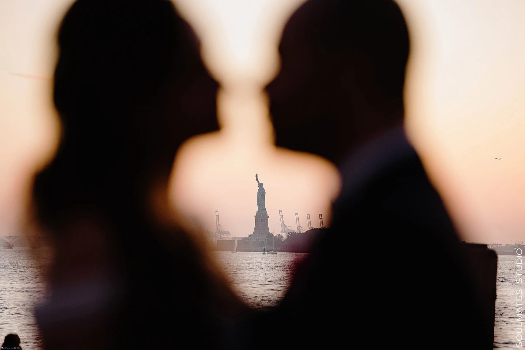 Manhattan Battery Garden City Wedding Silhouette Bride and Groom Portrait with Statue of Liberty