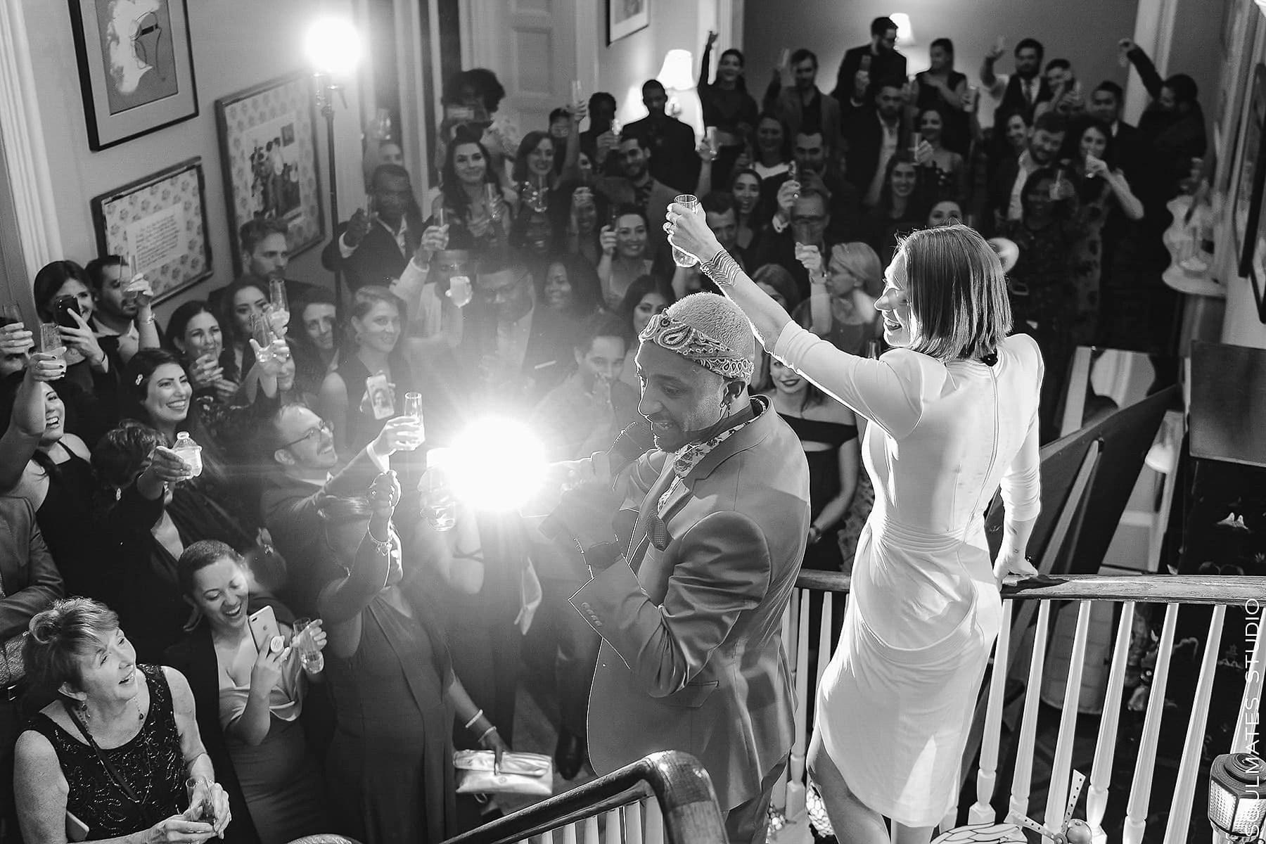 Wedding toast during Margo Feiden Galleries Elopement