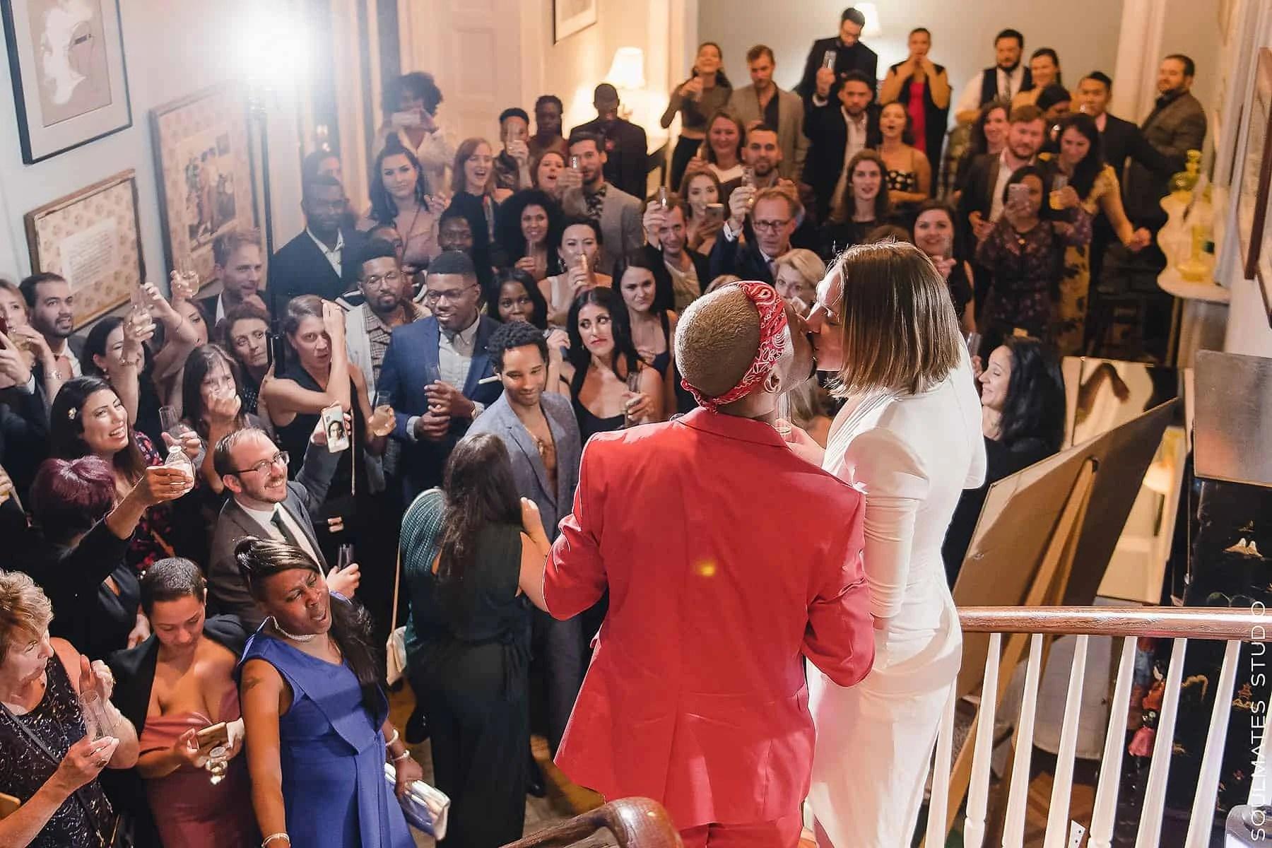 First kiss at Manhattan Margo Feiden Galleries Wedding Venue