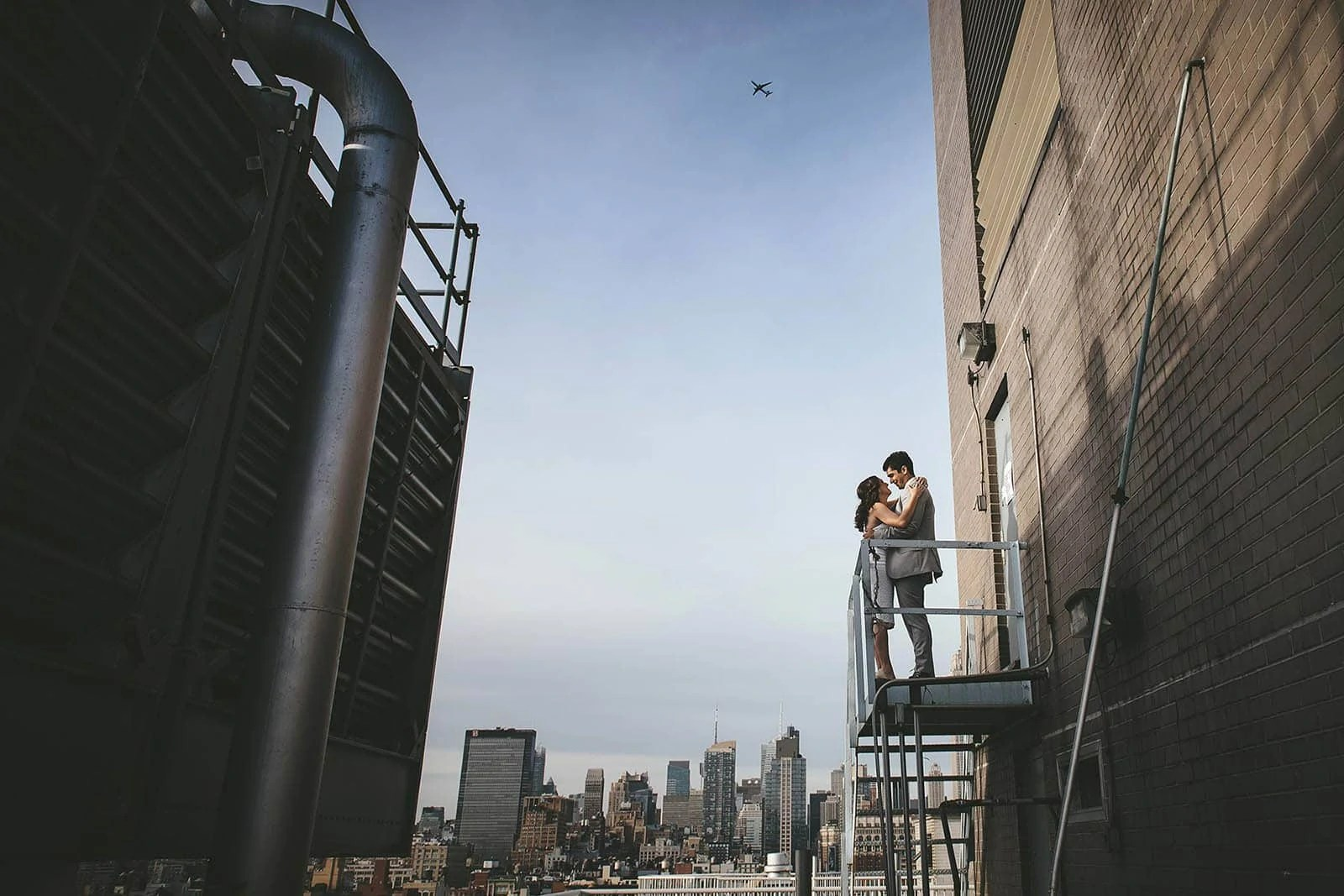 Manhattan rooftop engagement session