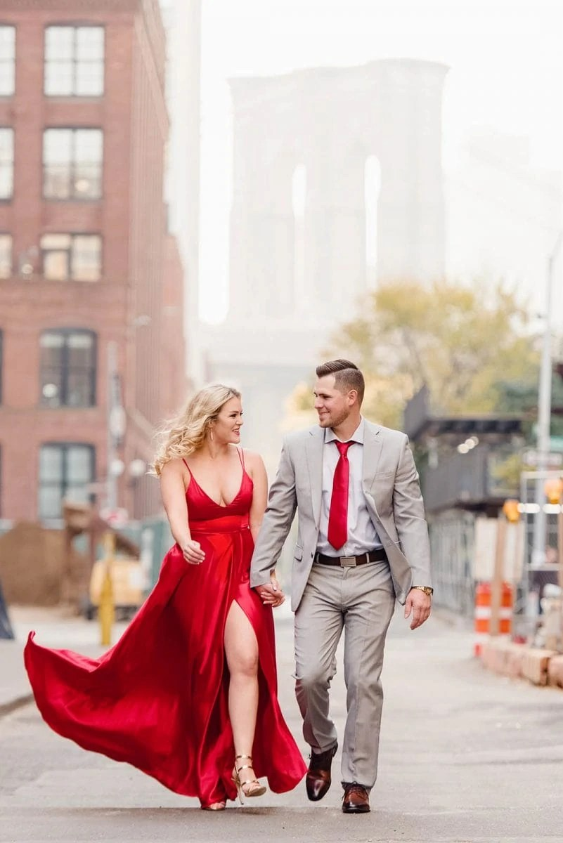 Couple matched outfits for engagement session