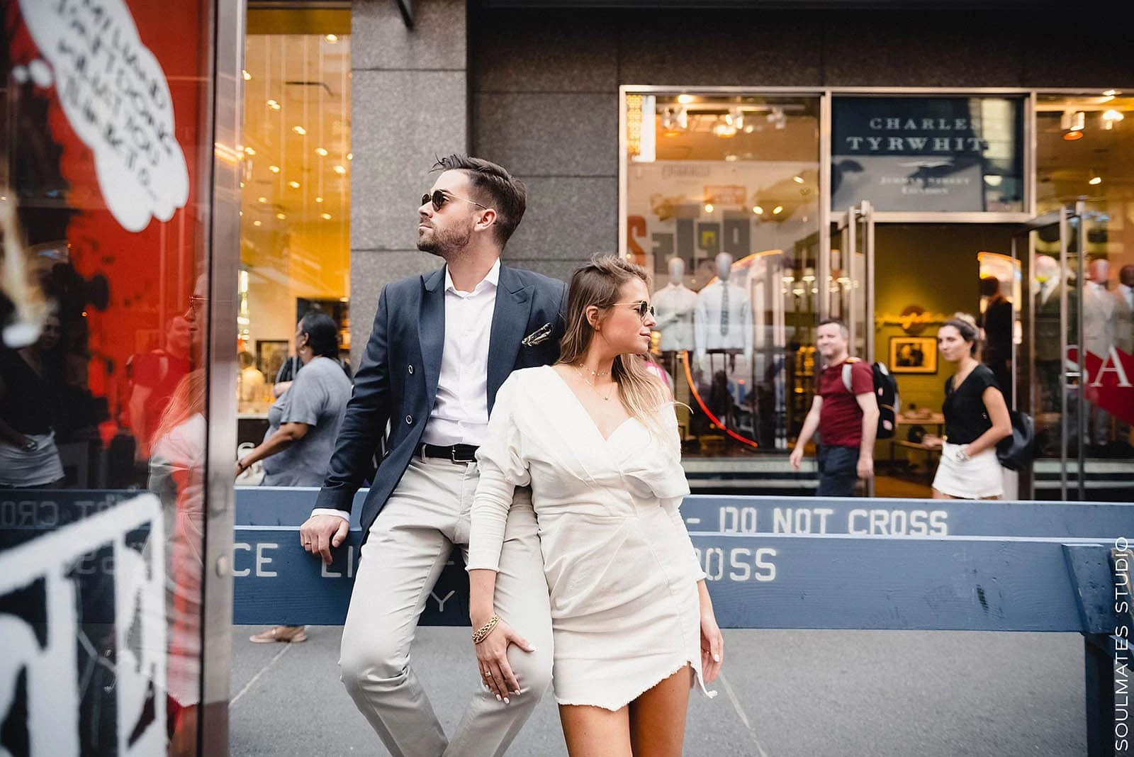 Couple posing at NYC Times Square