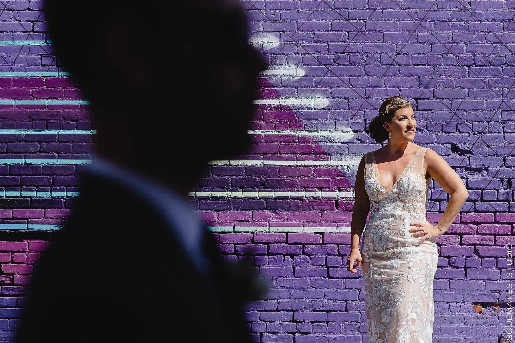 Artistic Bride and Groom Portrait at Jersey City Graffiti Wall