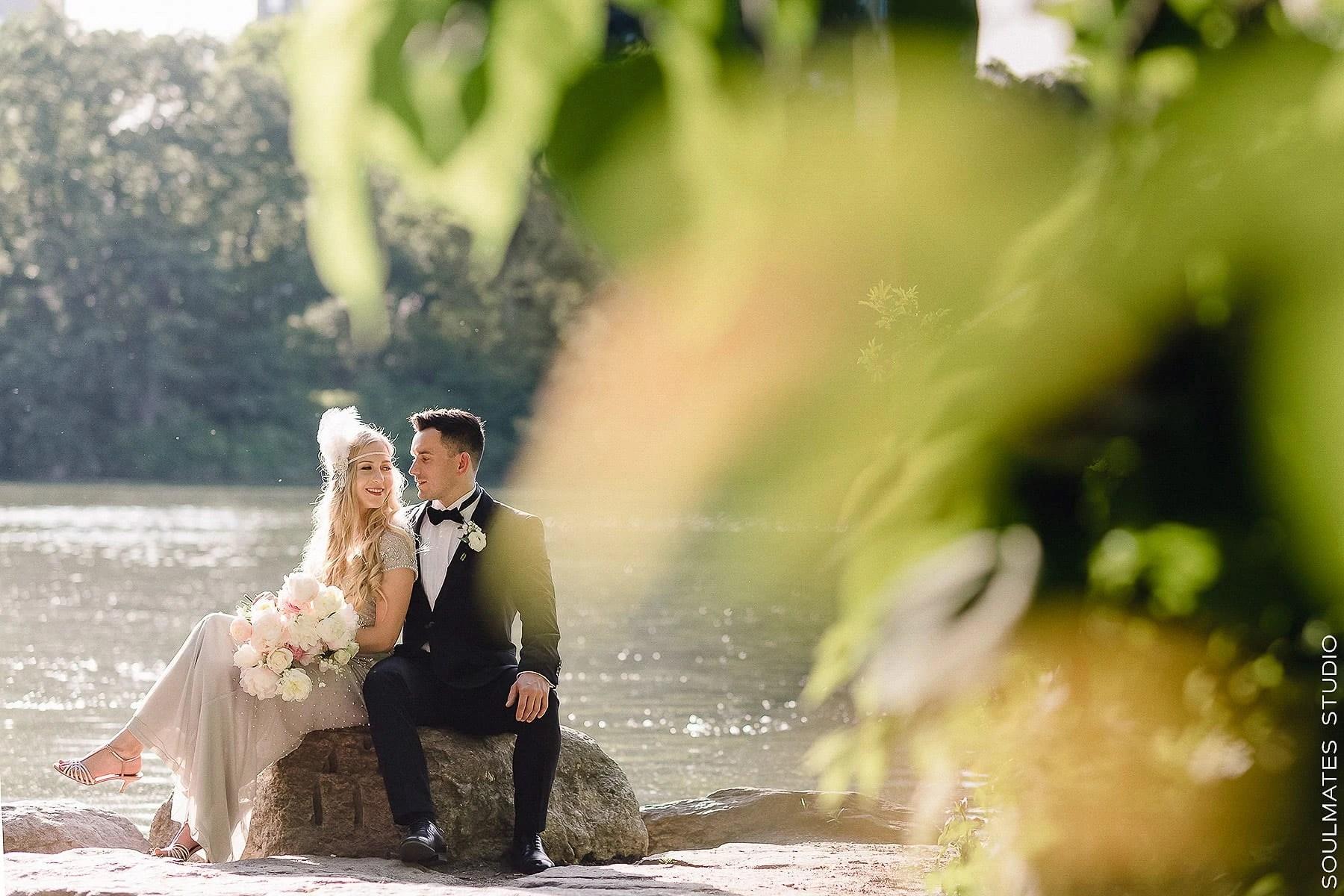 New York Central Park Elopement Wedding Bride and Groom Portrait