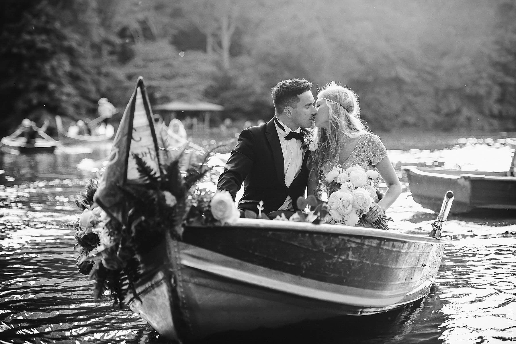 Black and white Central Park Elopement Wedding Bride and Groom Portrait on the Boat