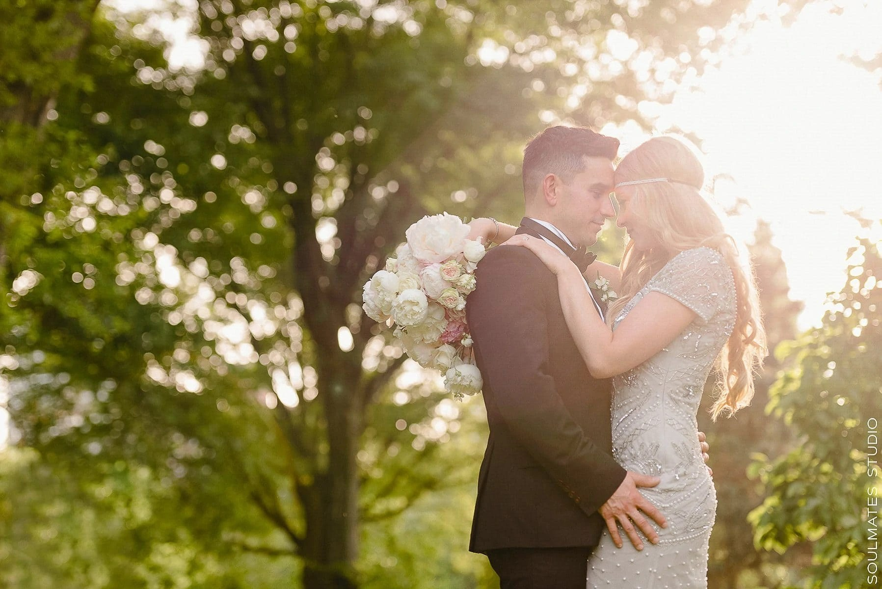 New York Central Park Elopement Wedding Bride and Groom Portrait at sunset