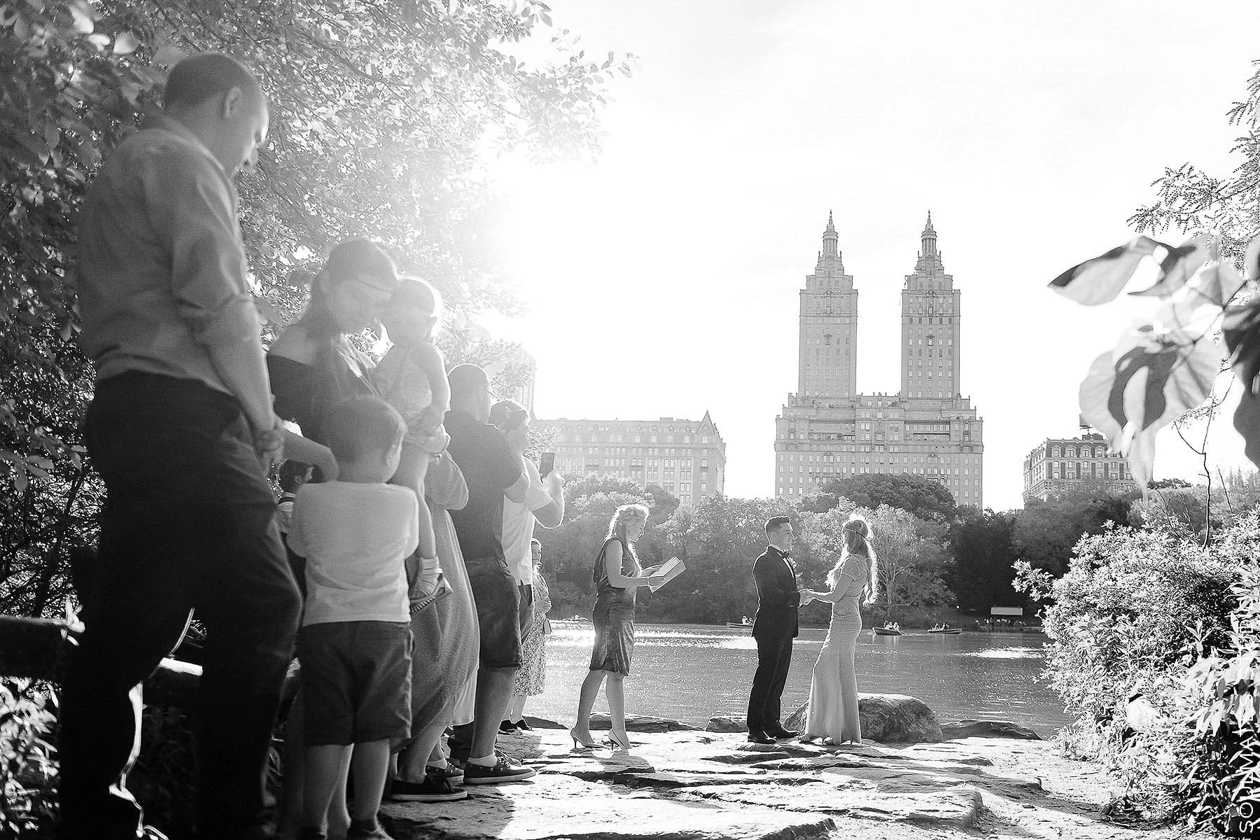 Black and White Central Park Elopement Ceremony