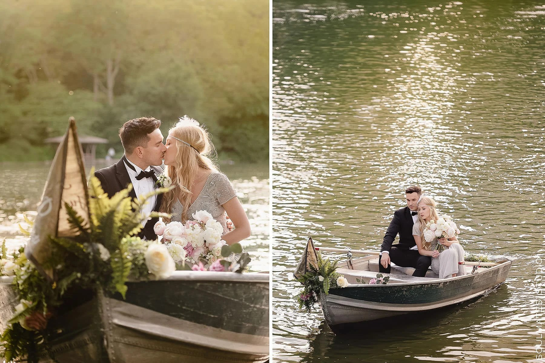 Bride and groom on the boat on The Lake in Central Park