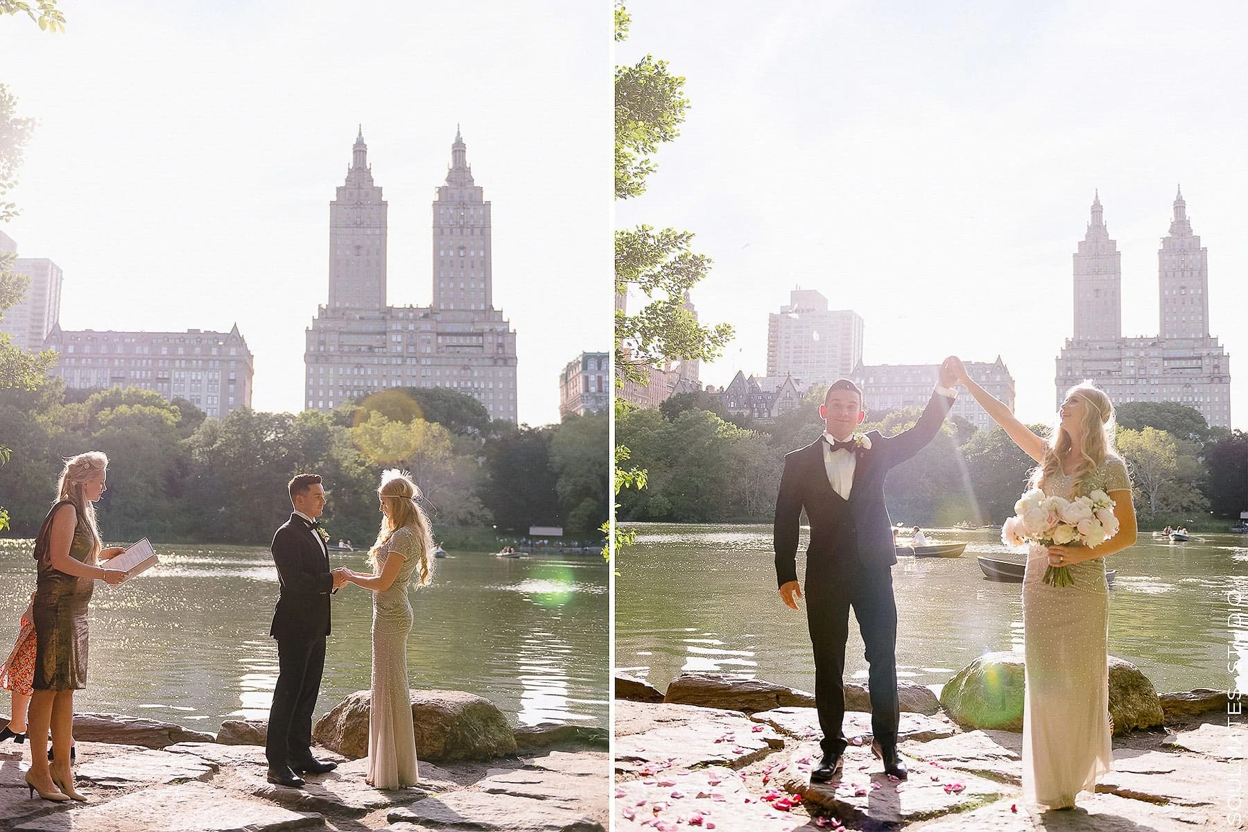 Central Park Elopement Wedding ceremony location by the Lake