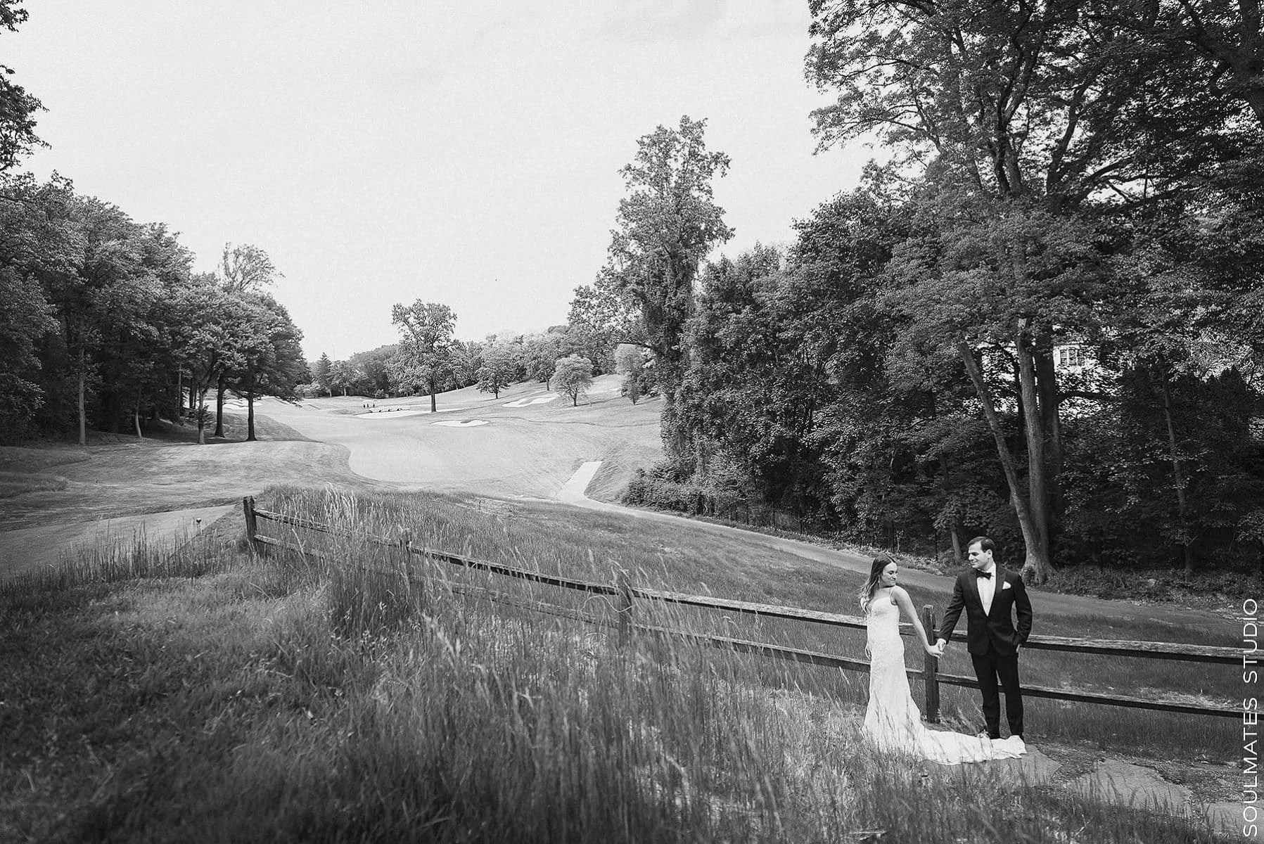 Black and White Bride and groom Portrait at Fresh Meadow Golf Course