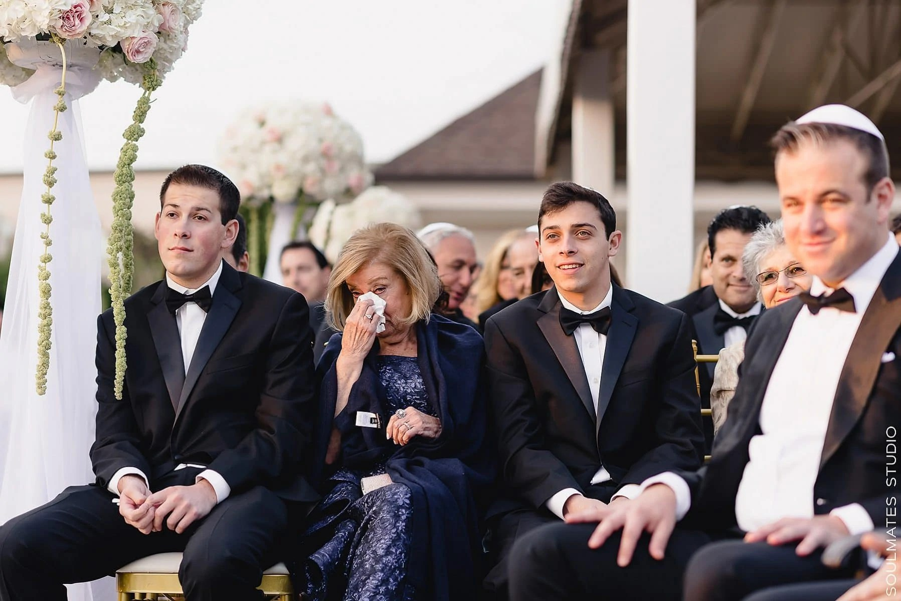 Emotional moment during Fresh Meadow Country Club Jewish wedding ceremony
