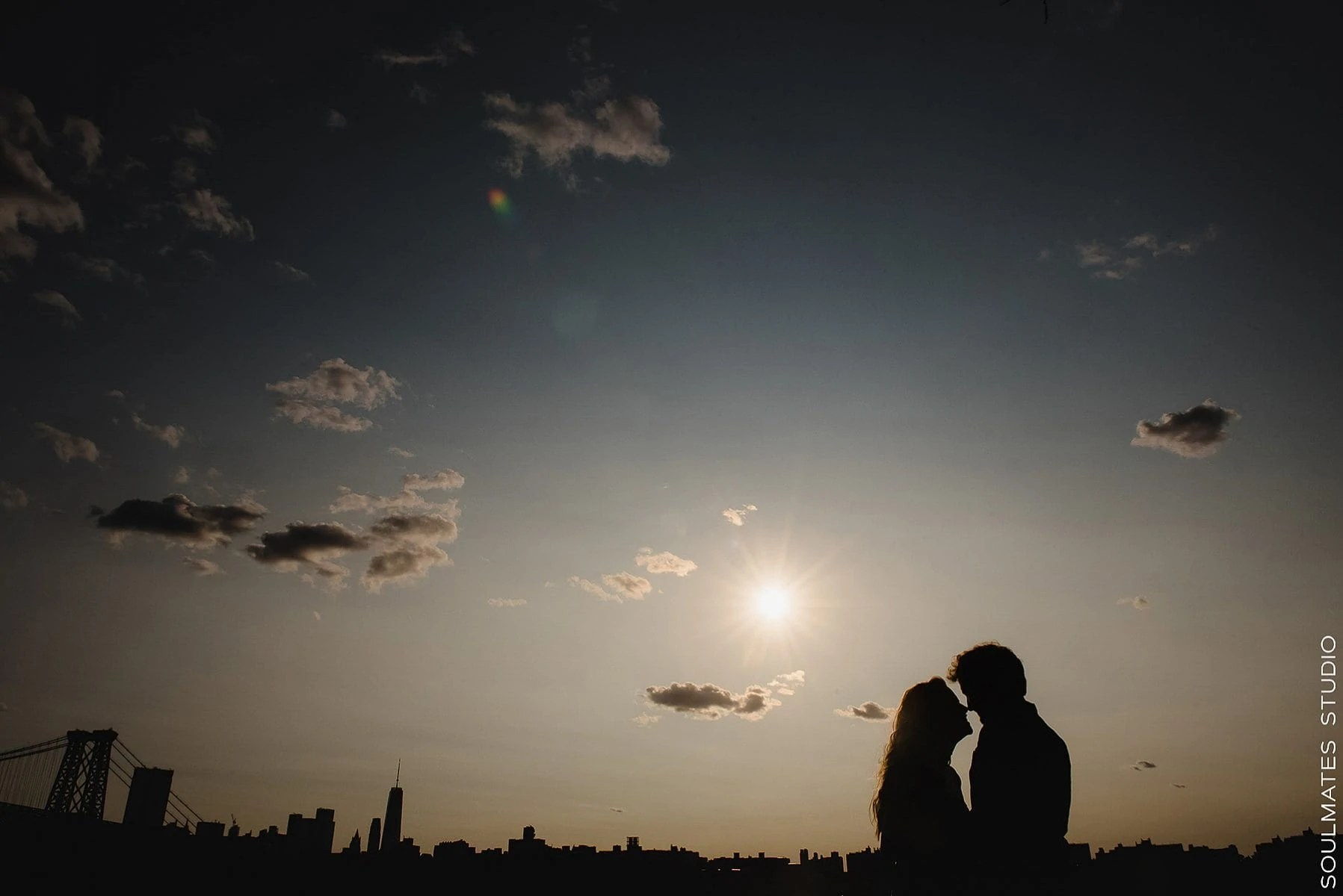 silhouette Brooklyn Domino Park Engagement portrait